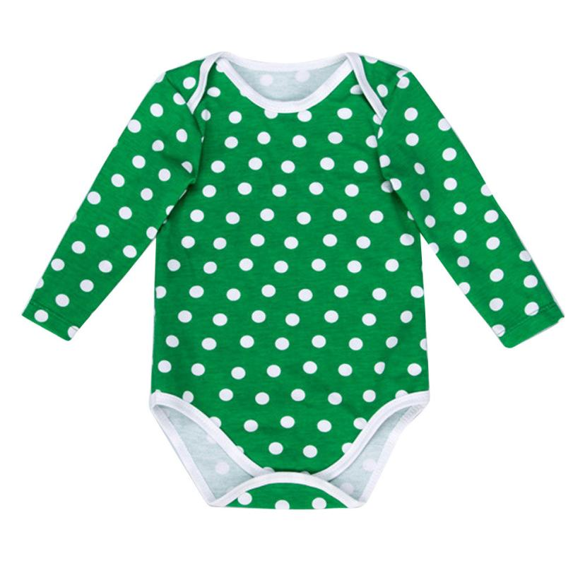 Dot Green baby Bodysuit Clothes Cotton body infantil jumpsuit long sleeve onesie Overalls Baby Body vestido infantil Krystal