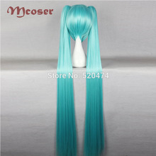 Mcoser 51″130cm Synthetic Long straight hair 2 Clip On Ponytail  Acid Blue Color Heat Resistent Wigs KW-072A