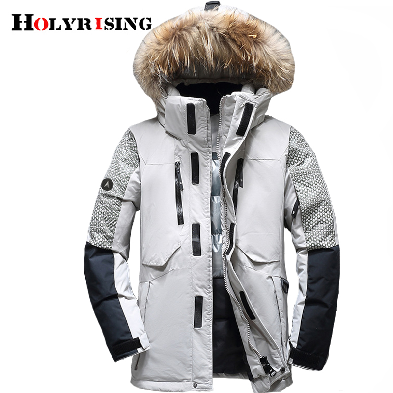 Holyrising Winter Male Duck Down Jacket Thick Men Fashion Hooded Down Coat Patchwork Windproof Waterproof Ski Clothing 1845-5