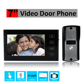 Hands-Free Touch-Pad 7inch Color intercom system 700tvl Video Doorphone Camera