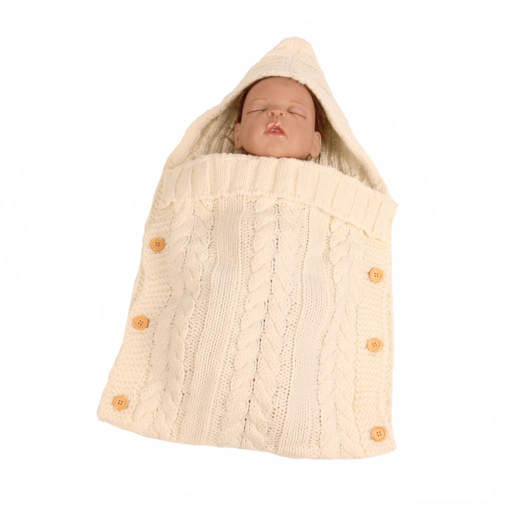 Mambobaby Baby Swaddle Blanket Wrap Hooded Knitting Swaddler Newborn Swaddle Sack Bag Set Cloth Photo Prop Sleeping Bag
