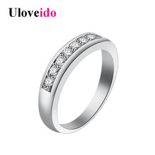 Uloveido Charms Ring for Women Wedding Band Cubic Zirconia Silver color Rings for Women/Men Wholesale New year Gifts 50%off J294