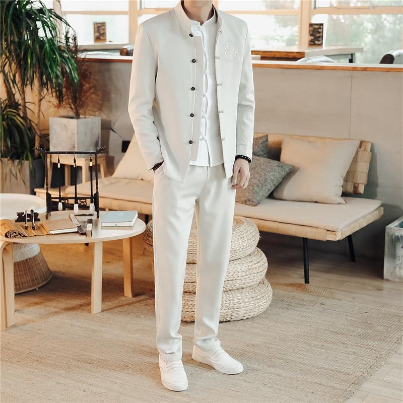 Men Suits White 2 PCS Vintage Embroidery Slim Fit Blazers Stand Collar Pants