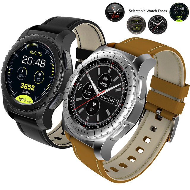 AOSMAN KW28 Bluetooth Smart Watch Heart Rate Fitness Tracker Changeable Watch Faces Leather