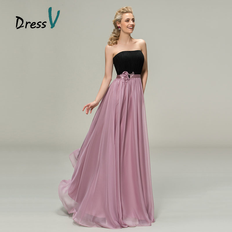 Dressv A Line Chiffon Black Purple Bridesmaid Dresses 2017 Strapless Patchwork Belt Maid Of Honor Dress Long Wedding Party In From