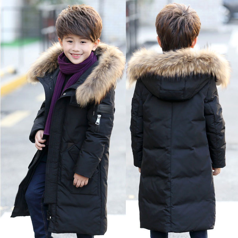 Teenage 2018 Boy Parkas Children Winter Warm Jackets Coast Boy's Down Jacket Long Thick kids Clothes Coat Raccoon Fur Hooded 2017 winter women jacket down new fashion long sleeve hooded thick warm short coat slim big yards female autumn parkas ladies242