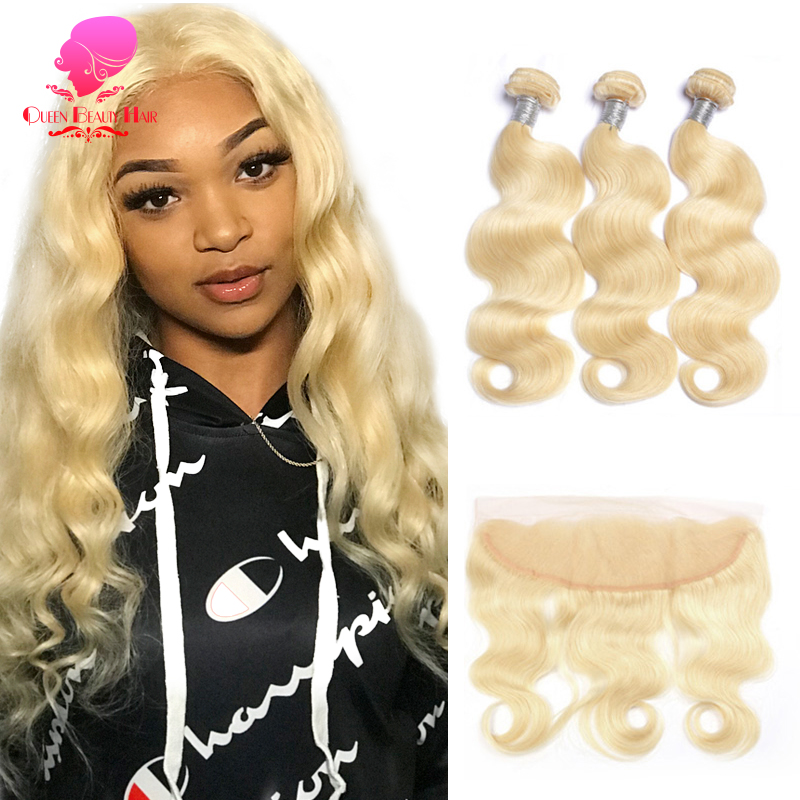 QUEEN BEAUTY 613 Brazilian Body Wave Blonde Human Hair Lace Frontal Closure with Bundles Remy Human