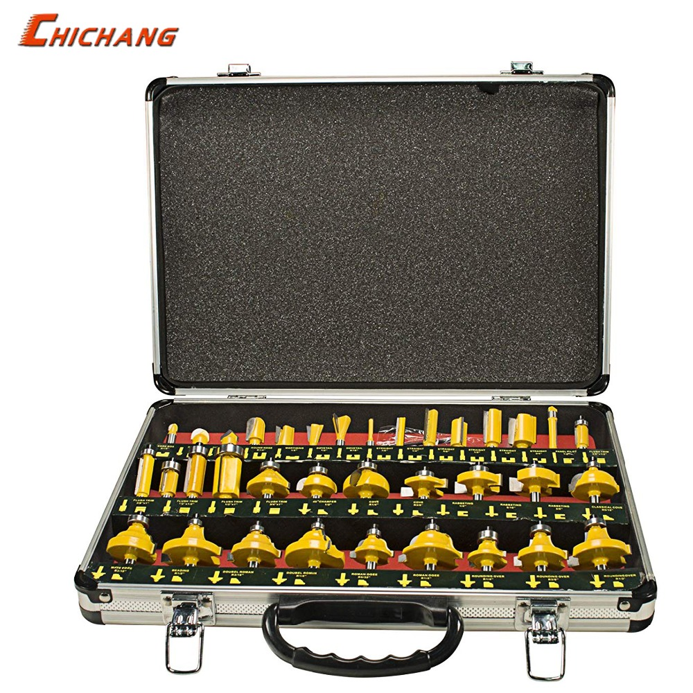 35 Piece 1 4 Shank Router Bit Set With Tungsten Carbide Tips For Use On Wood