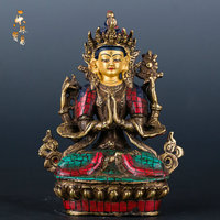 The four arm Guanyin Buddha Tibet Tantric Nepal handmade boutique Buddha feng shui ornaments 5 inch retro cars