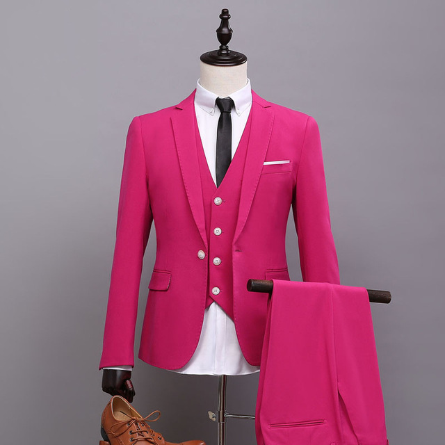 (Jacket+Pants+Vest+Tie) New Fashion Hot Pink Men Suit Spring Autumn Personality Casual Slim Fit Prom Groom Party Wedding Suits