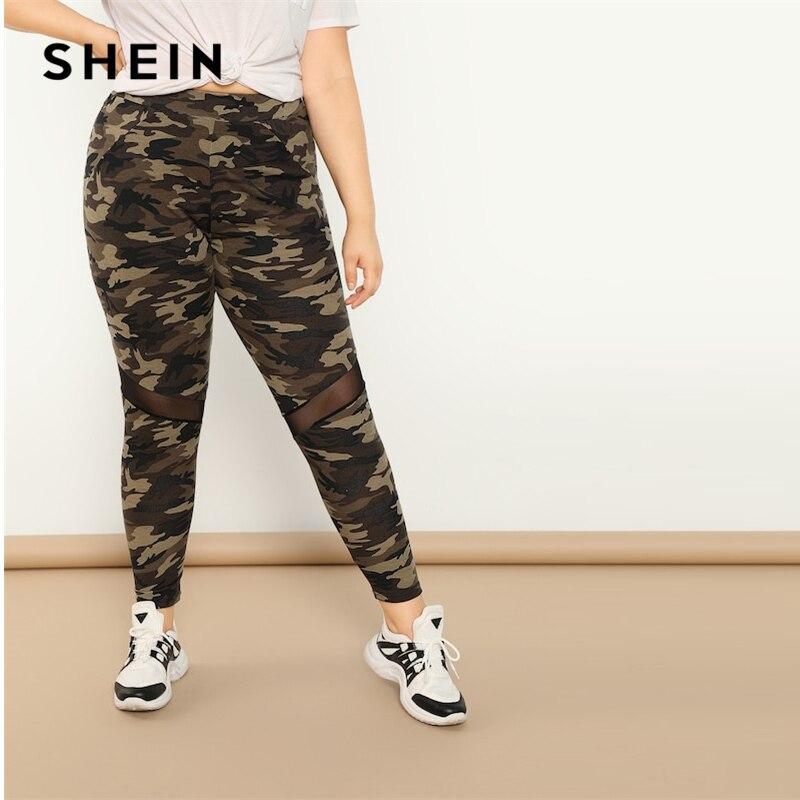 SHEIN Multicolor Plus Size Contrast Mesh Insert Camouflage Print Long Athleisure   Leggings   2019 Spring Fashion Skinny   Leggings