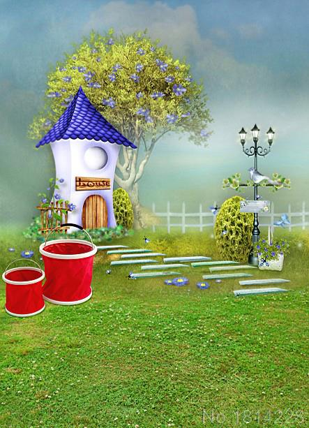 3x5FT Cartoon House Stone Pathway Birds Dream Garden Baby ...