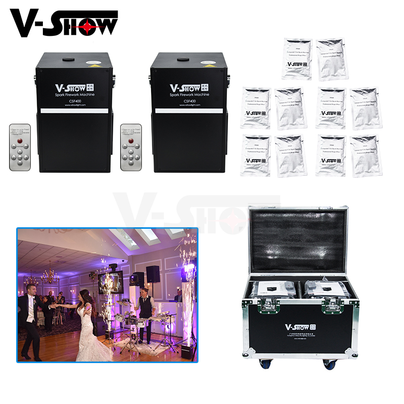 2pcs With Case And 10 Bags Powder 400W Wedding Firework Machine Cold Spark Fountain Fireworks Machine