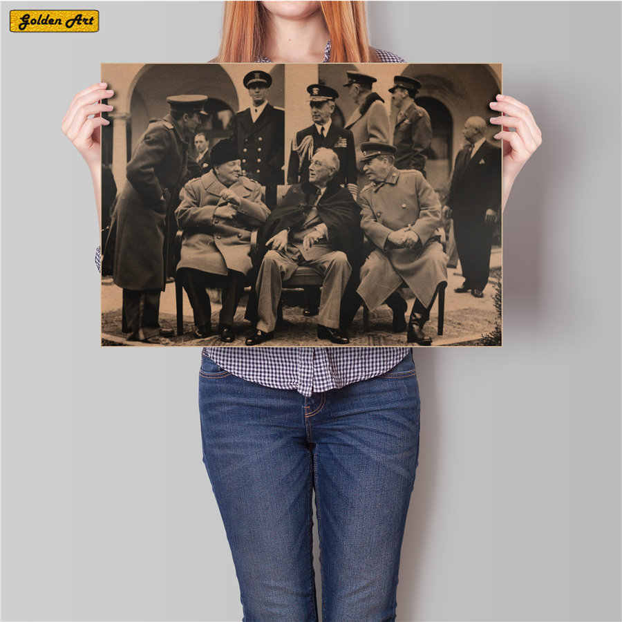 World War II Old Photo 3 Big Vintage bar cafe Decoration Antique Kraft Paper Poster Retro shop Wall Sticker Painting 45.x531.5cm