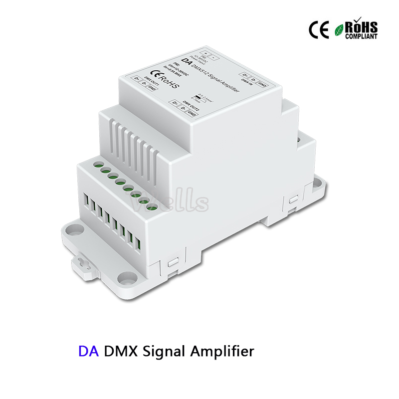 DC5-24V DIN Rail led DMX Amplifier 1CH input 2ch output DA DMX512 Signal Amplifier controller for led strip DMX signal extender