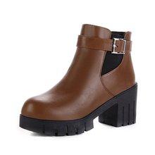 Fall Winter 2019 New European American Waterproofing Platform Shoes Fashionable Round Head Belt Button Martin Boots 35-39