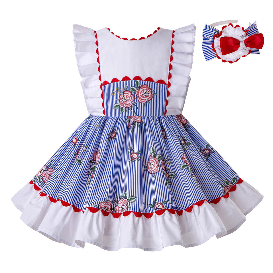 Pettigirl Stripe Dress for Girls with Rose Printed Summer Dress Wholesale Children Dress Accessory Dropshipping G
