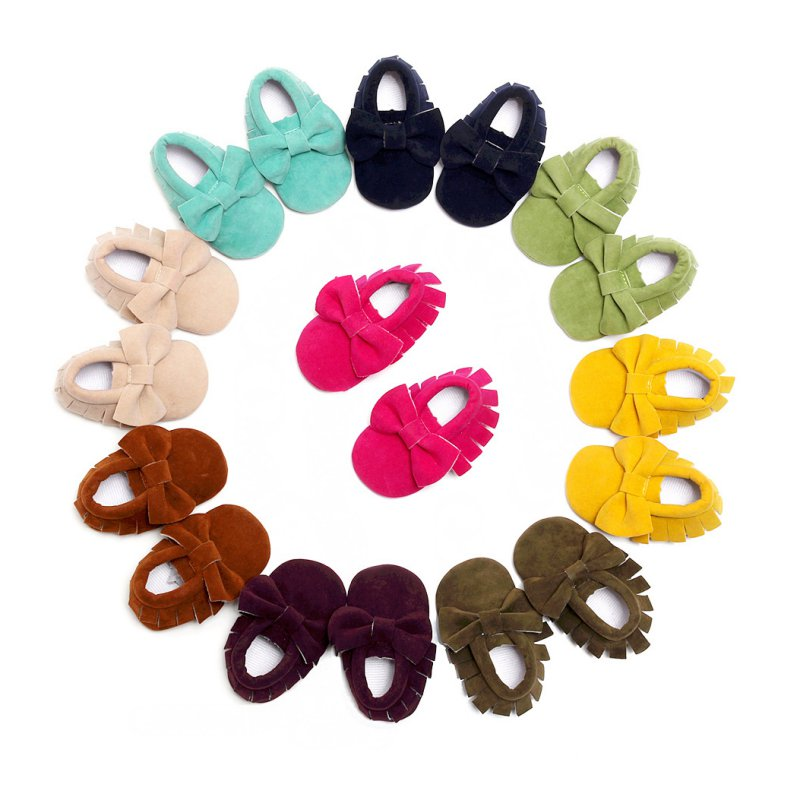 Newborn Baby Girls Infant First Walkers Bowknot Pre-walkers Crib Soft Shoes Soft Bottom Tassels Baby Moccasin