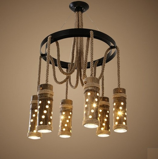 Loft Style Creative Rope Bamboo Tube Droplight Vintage LED Pendant Light Fixtures For Dining Room Hanging Lamp Home Lighting american edison loft style rope retro pendant light fixtures for dining room iron hanging lamp vintage industrial lighting