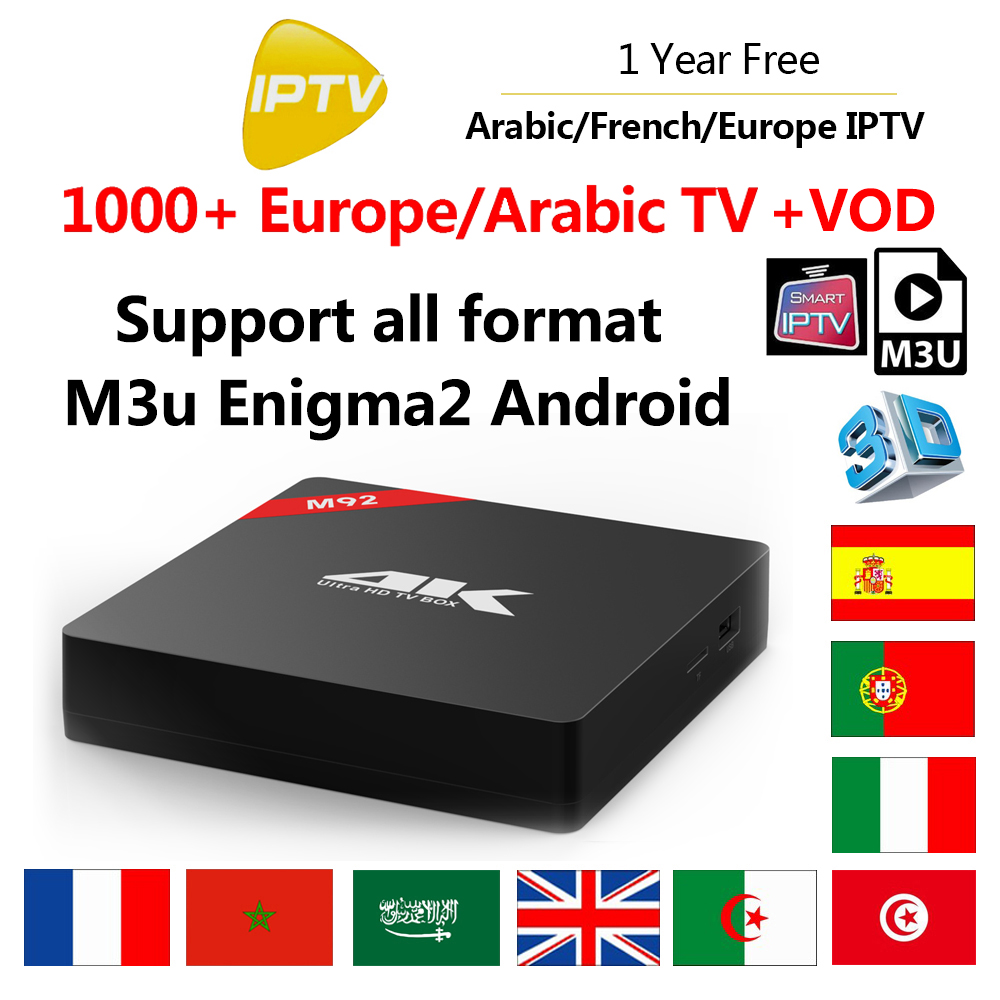 1 Year 1000 Live TV+VOD IPTV M3U ENIGAM2 Android IPTV ITALY Portugal French Spain UK Channels M92 RK3229 Smart Android TV Box eachlink ix88 android 5 1 1 rk3229 tv box