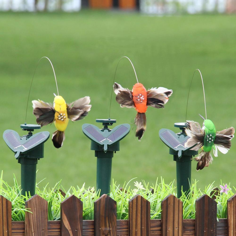 45# Solar Powered Battery Flying Wobble Feather Wing Artificial Fake Hummingbird Yard Garden Plants Flower Ornament Garden Decor