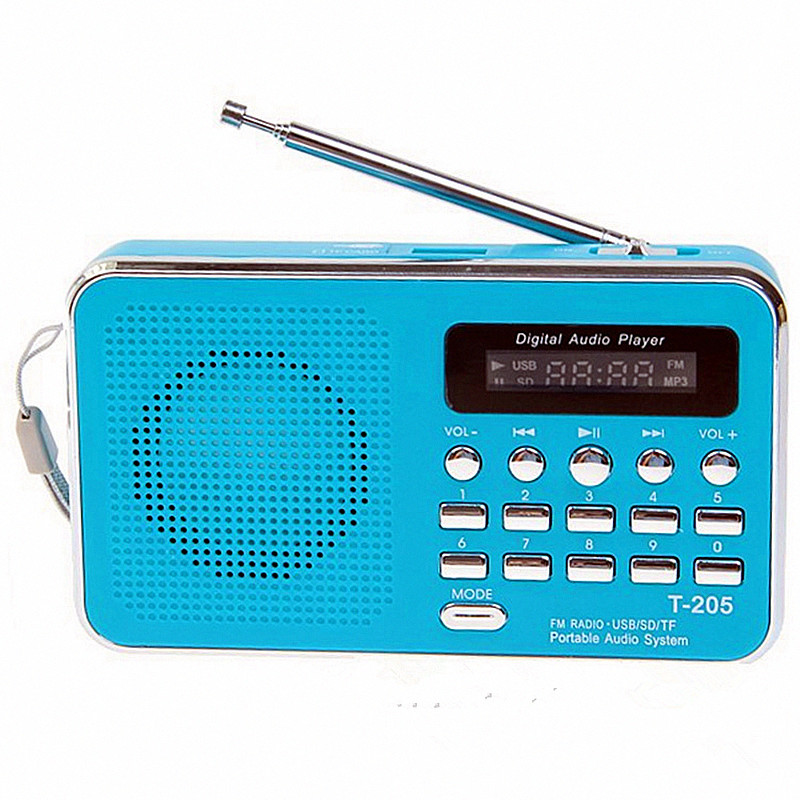 REDAMIGO Portable FM Radio Récepteur USB Stéréo mini Haut-Parleur FM Radio Ubwoofer Super Bass Portable Radio TF MICRO SD MP3 t205R