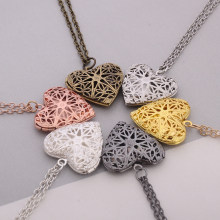 DIY Secret Message Locket Hollow Love Heart Necklace Pendant 6 Colors Openable Vintage Gift For Lover Couples Custom(China)
