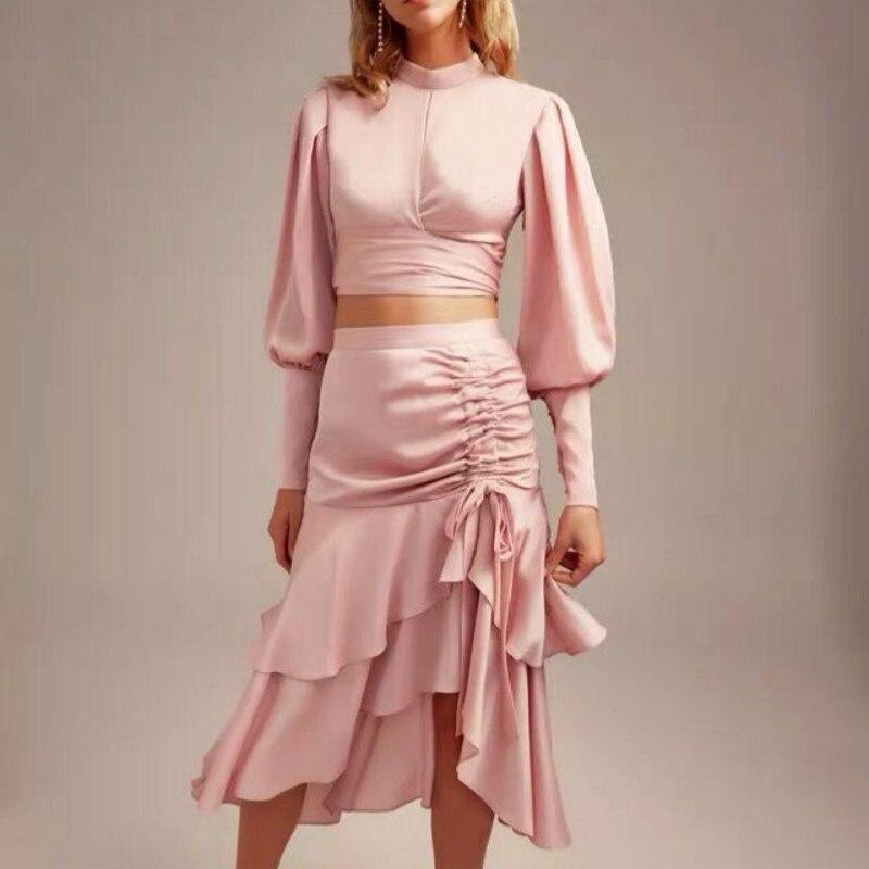 Piste Robe 2019 Femmes Vintage Vert/rose Ruches Lanterne Manches Plissée Midi Robe deux pièces robe