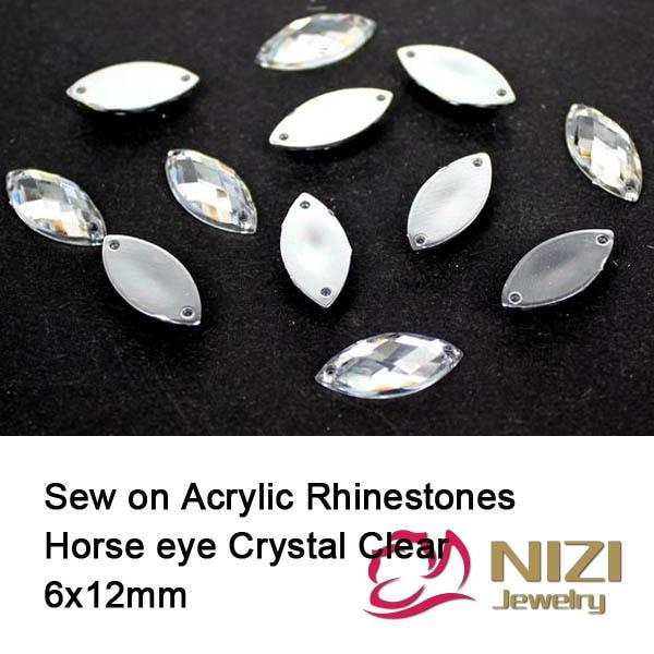 Crystal Clear Strass 6X12mm Horse Eye Flatback Sewing Rhinestones Taiwan Acrylic Rhinestones For DIY Decoration Fashion Strass
