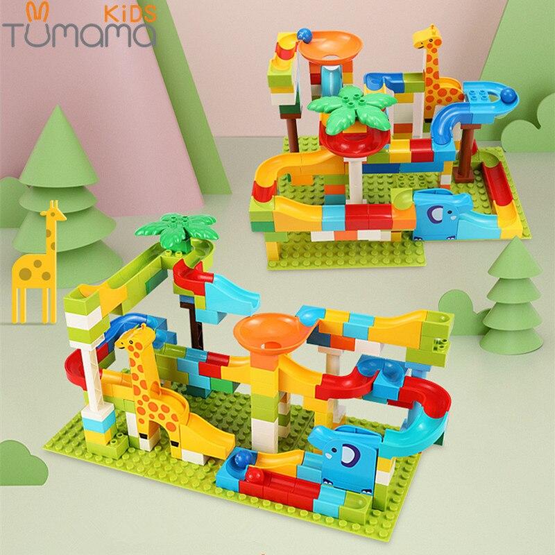 Tumama 52-143 Pcs Marmor Rennen Run Dschungel Abenteuer Track Bausteine Großen Größe Maze Ball Gebäude Bricks Kompatibel duploed