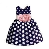 2015 New Stylish Kids Toddler Girls Princess Dress Sleeveless Polka Dots Bowknot Dress 3 Color Top