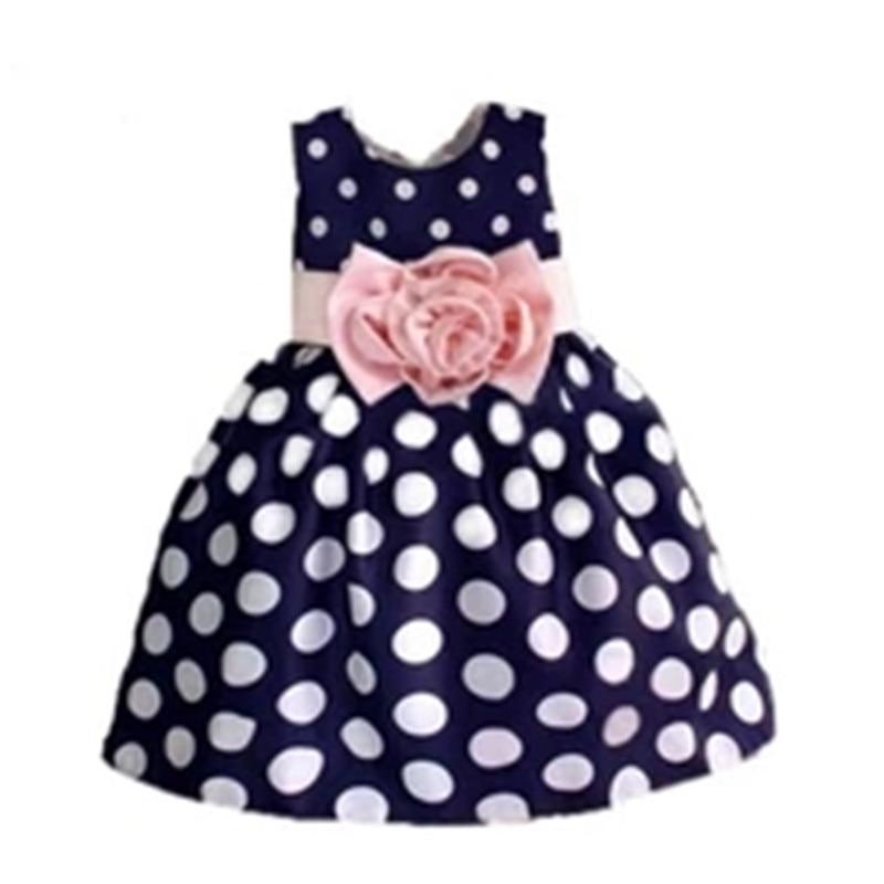 2015 New Stylish Kids Toddler Girls Princess Dress Sleeveless Polka Dots Bowknot Dress! 3 Color Top Quality