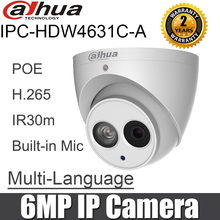 Dahua 6MP IP Camera IPC HDW4631C A POE Built in MIC IR 30m IP67 Network Dome Camera replace ipc hdw4431c a hdw4431c a hdw4631c a