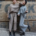 [2016] special offer every day half loose turtleneck sweater suit nine Winter Knit wide leg pants suit female