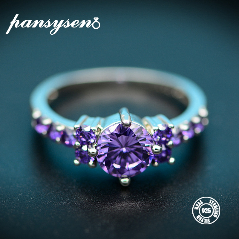 PANSYSEN Luxury Amethyst Rings for Women Charms 7mm Round Gemstone 925 Sterling Silver Jewelry Ring Fashion Wholesale GiftsPANSYSEN Luxury Amethyst Rings for Women Charms 7mm Round Gemstone 925 Sterling Silver Jewelry Ring Fashion Wholesale Gifts