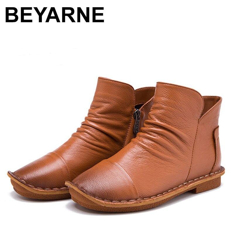 BEYARNES donne di Autunno suola morbida pelle bovina del cuoio genuino piatto slip on scarpe comode ricamato a mano mocassini