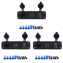 цена на 3 In 1 12V Waterproof 2.1A Dual USB Port Charger Car Boat Motorcycle Cigarette Lighter Socket LED Digital Display Voltmeter