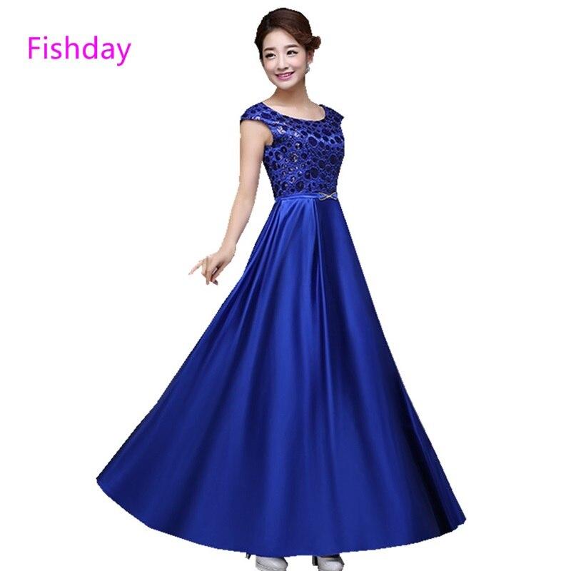 Fishday robes de soirée vert Royal bleu femmes longue rouge grande taille élégant pour les prix de mariage mère de mariée vente pure cou B30