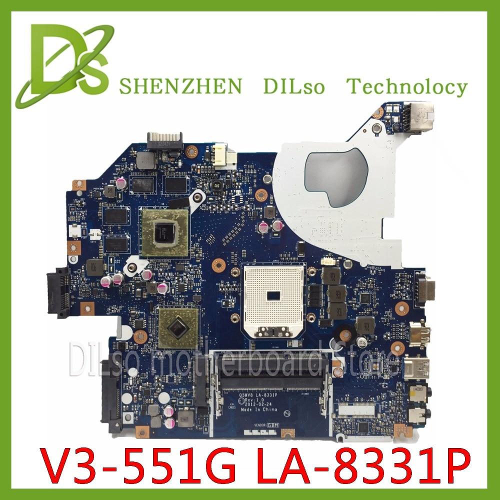 KEFU NBC1811001 Q5WV8 LA-8331P Motherboard For Acer Aspire V3-551G V3-551 Laptop Motherboard DDR3 Radeon HD 7670M Original Test