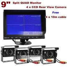 DIYKIT 9 Дюймов Сплит Quad Дисплей Заднего Вида Монитор + 4 x CCD ИК Камера Ночного Видения для Автомобилей Грузовик Автобус Система Видеонаблюдения