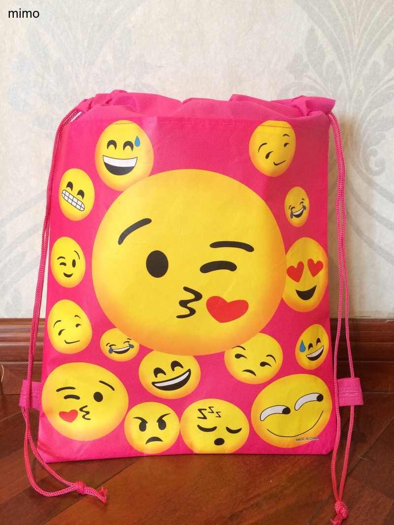 طفل الحلو القلب مبتسم الوجه قبلة العالم حقيبة مدرسية غير المنسوجة سلسلة حذاء حقيبة تسوق مع للبنين حقيبة هدايا الحفلات