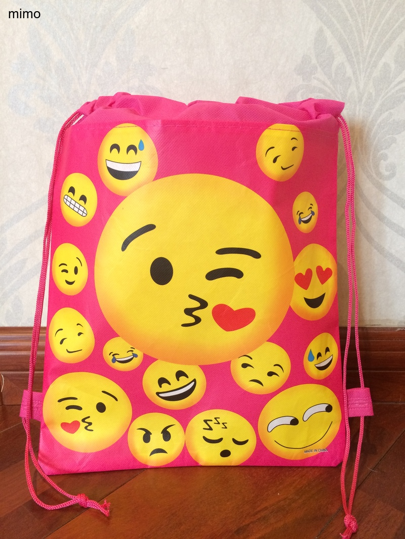 Toddler Sweet Heart  Smiley Face Kiss World School Bag Non-woven String Shoe Shopping Bag With  For Boys Party Gifts Bag