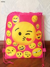 toddler sweet heart smiley face kiss world school bag non-woven string shoe shopping bag with for boys party gifts bag(China)