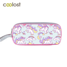 Cartoon Unicorn Print Cosmetic Bag Kids Small Storege Bag Children School Case Functional Cartoon Make up Bag Pencil Holder