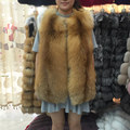 QC8065 QCFUR alta calidad mujeres bienes fox chaleco de piel de piel entera red fox chaleco de piel gilet