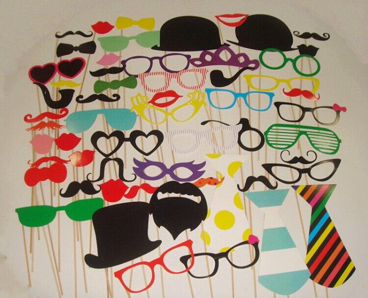 Velkoobchod 100set / lot 58 Jiný styl součástí roztomilý DIY foto rekvizity klobouk brýle knír Lip Party dekorace