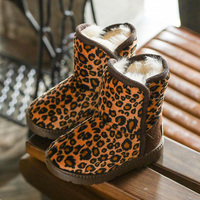 Children Snow Boots 2017 Winter New Fashion Leopard Boys And Girls Boots Warm Plush Toddler Baby