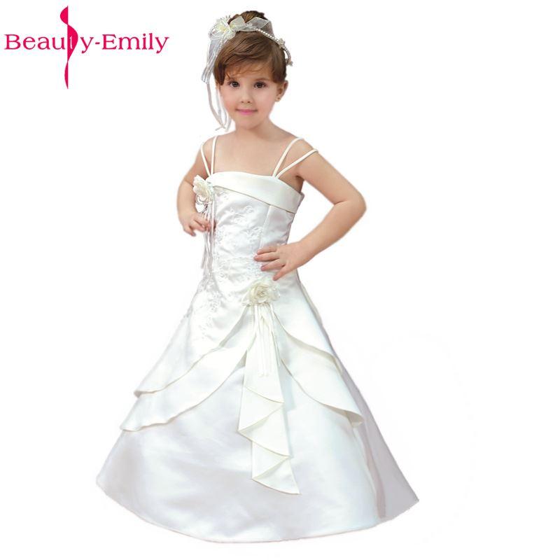 Güzellik-Emily Beyaz Çiçek Kız Elbise 2017 Üreticileri Yeni Çiçek Kız Parti Balo Elbiseler Kolsuz