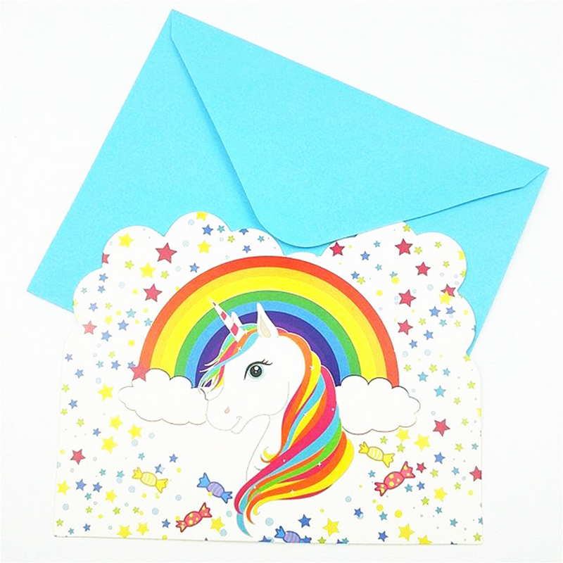 Online Shop 6pcs Kids Birthday Party Decorations Rainbow Unicorn Little Pony Thanks Invitation Card Baby Shower Christmas Partyware Supplies | Aliexpress Mobile