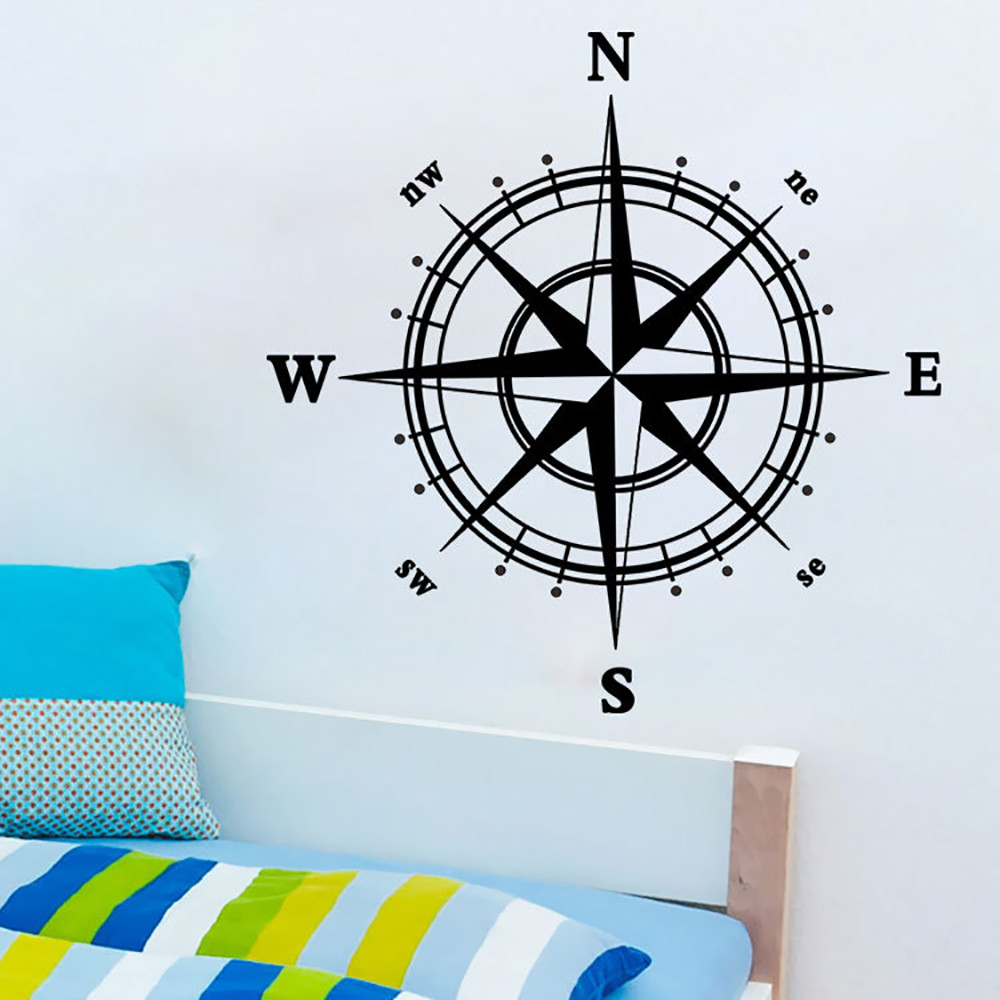 Fashion Creative Compass Wall Decal sticker vinyl decor mural bedroom kitchen art map travel For Home And Office